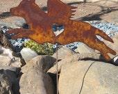 Rusty Finish Australian Cattle Cow Dog Angel Memorial Garden Art Stake