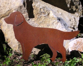 Rusty Finish Golden Retriever Dog Metal Garden Art Yard Stake