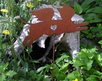 Rusty Finish Metal Garden Art Kitty Cat Angel Memorial Yard Stake