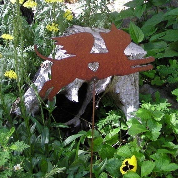 2 - Rusty Finish Metal Garden Art Kitty Cat Angel Memorial Yard Stake