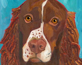 Springer Spaniel No. 1 - set of six blank note cards with coordinating envelopes