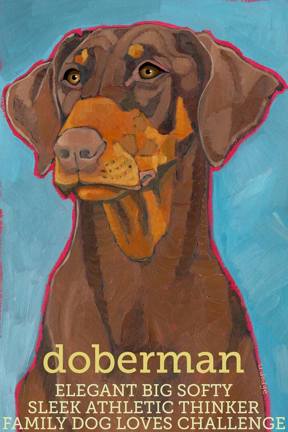 Doberman Pinscher No. 4 - magnets, coasters and art prints red and tan