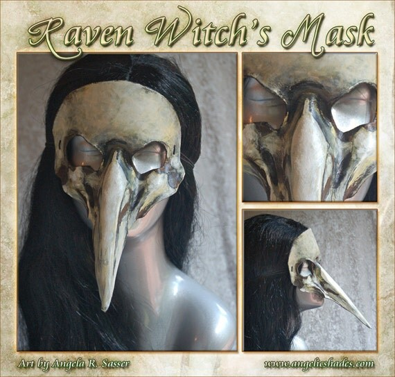 MADE TO ORDER Raven Witch's Mask - White Bird Skull Plague Doctor Style