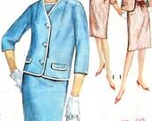 1960s Dress Pattern Simplicity 5352 Womens Sleeveless Scoop Neck Dress Boxy Boyfriend Jacket Plus Size Vintage Sewing Pattern Bust 39