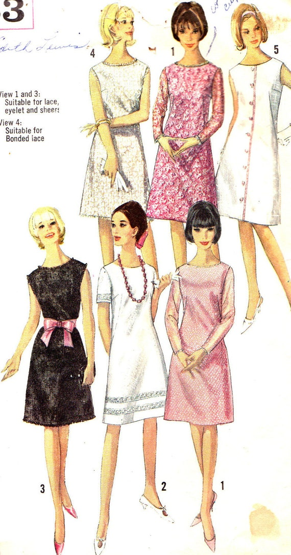 1960s Dress Pattern Simplicity 5935 Mod A Line Dress Round Neckline Lace Insert Picot Edging Vintage Sewing Pattern Bust 32