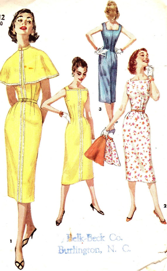 Vintage Sewing Pattern 1950s Simplicity 1644 Sleeveless Sheath Dress Wiggle Dress Square Neckline Cape Size 12 Bust 30