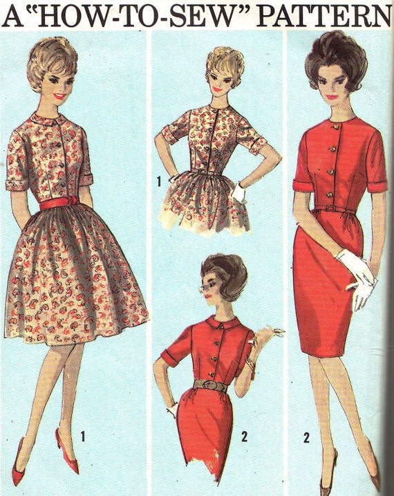 1960s Dress Pattern Simplicity 5022 Full Skirt or Sheath Dress Womens Vintage Sewing Pattern Size 12 Bust 32