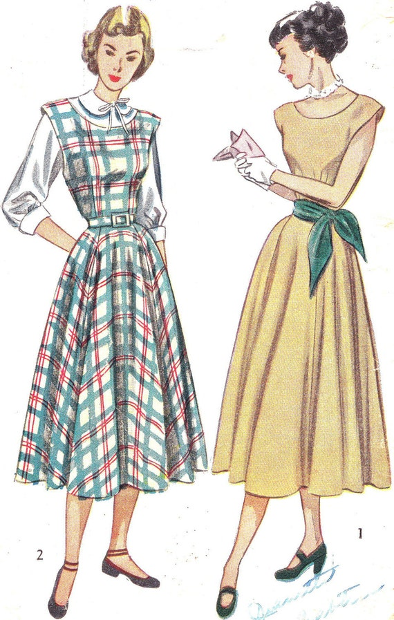 1940s Dress Pattern Simplicity 2313 Cap Sleeve Dress or Jumper and Blouse Gored Skirt Womens Vintage Sewing Pattern Bust 32