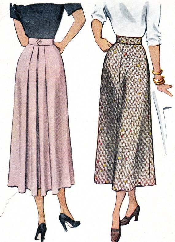 1940s skirt pattern mccall 7522 misses high waist by
