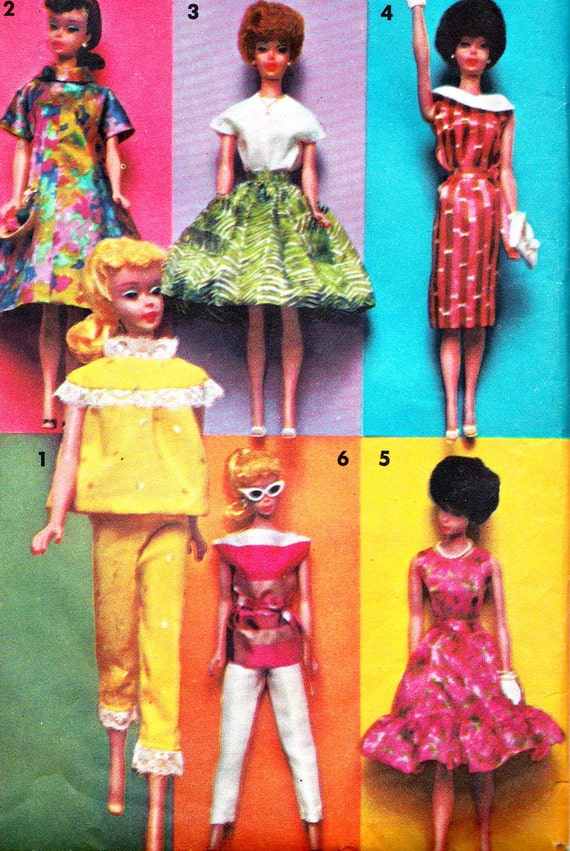 1960s Barbie Doll Clothes Pattern Advance Group D Barbie Around the ...