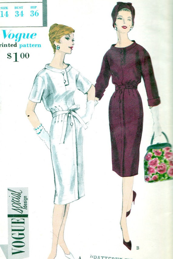 1950s Dress Pattern Vogue Special Design 4993 Day or Evening Dress Slim Skirt Bloused Bodice Womens Vintage Sewing Pattern  Bust 34
