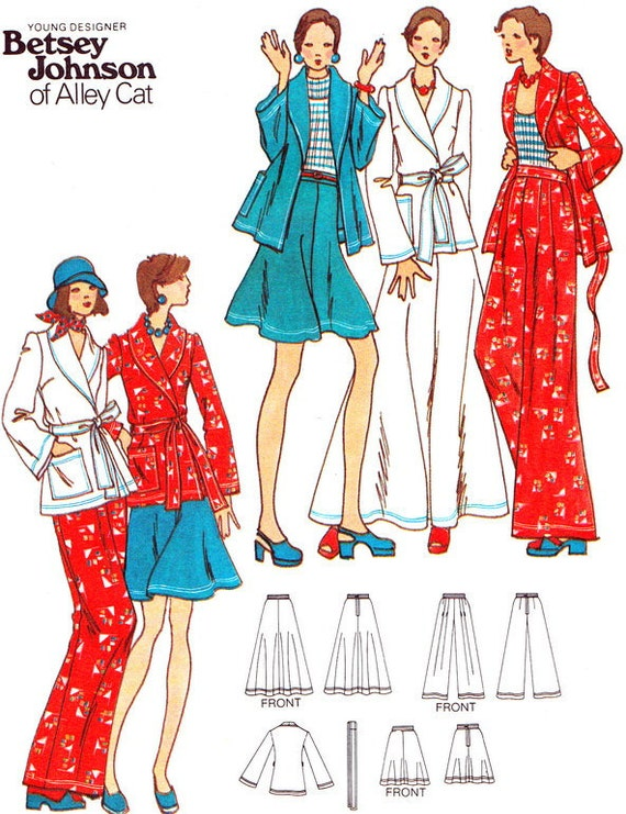 Butterick 3289 Betsey Johnson Wide Leg Pants Flared Skirt Shawl Collar Jacket 1970s Vintage Sewing Pattern Bust 31 Uncut