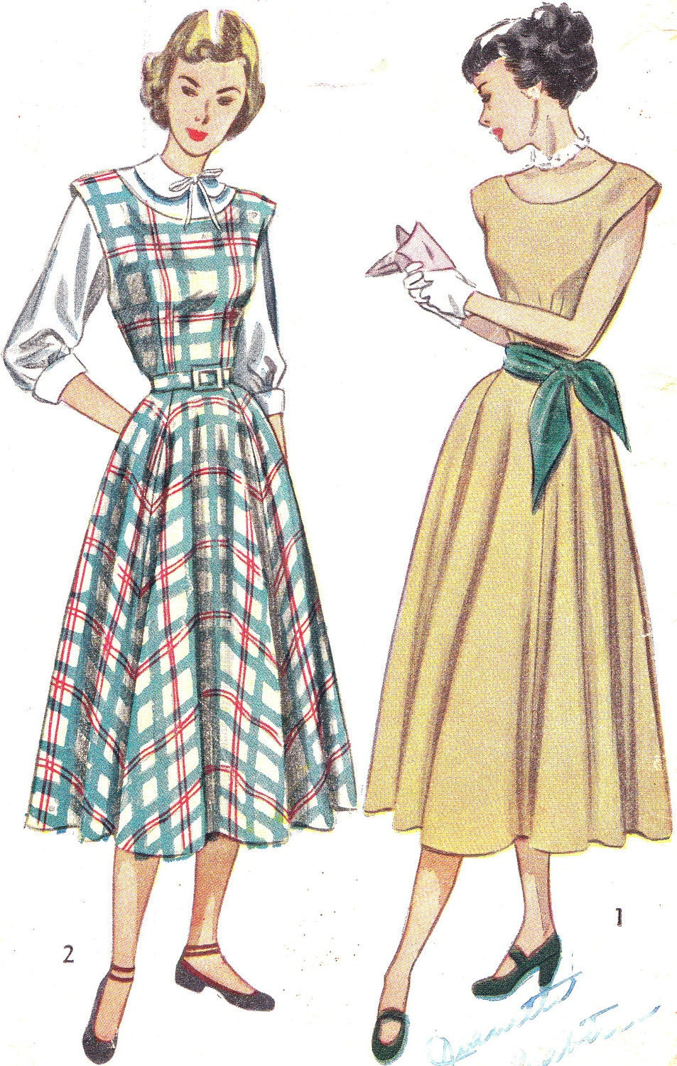 1940s Dress Pattern Simplicity 2313 Cap Sleeve Dress Or Jumper