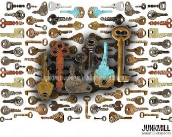 KEYED UP - Digital Printable Collage Sheet - Vintage Skeleton Keys, Old Rusty Steampunk Embellishments, PNG Instant Download