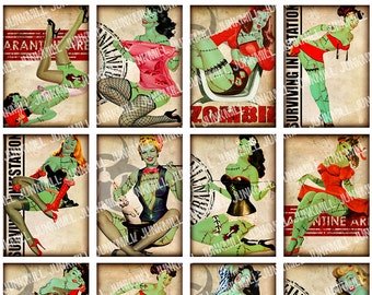 ZoMBIE PIN-UPS - Digital Printable Collage Sheet - Retro Undead Pin-Up Girls, Zombiepocalypse, Vintage Halloween, Mini Atc, Instant Download