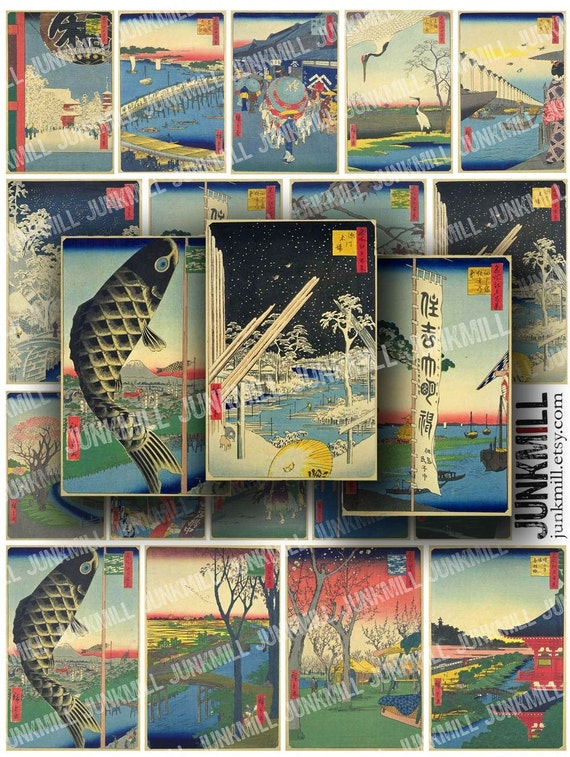ASIAN WOODBLOCKS - Digital Printable Collage Sheet - Antique Japanese Landscapes, Pagodas, Koi & Bonsai, Instant Download