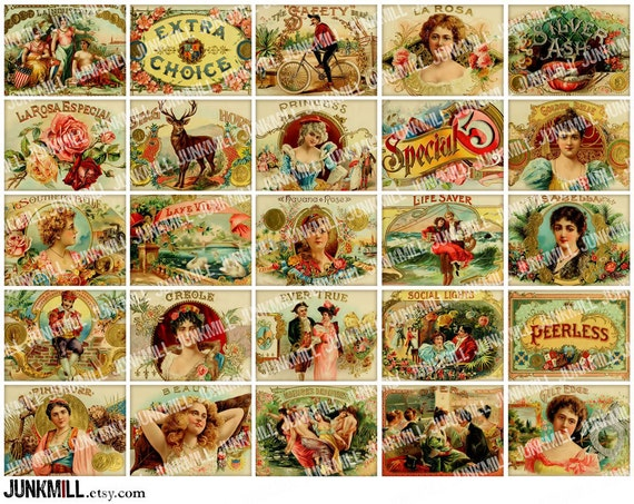 HUMIDOR - Digital Printable Collage Sheet - Vintage Cigar Box Labels, Pretty Victorian Women & Ornate Floral Borders, Instant Download
