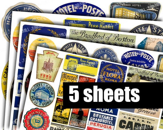 STEAMTRUNK LABELS - 5 Digital Printable Collage Sheets - Vintage Luggage Labels, Souvenir Travel Labels from Europe, Instant Download