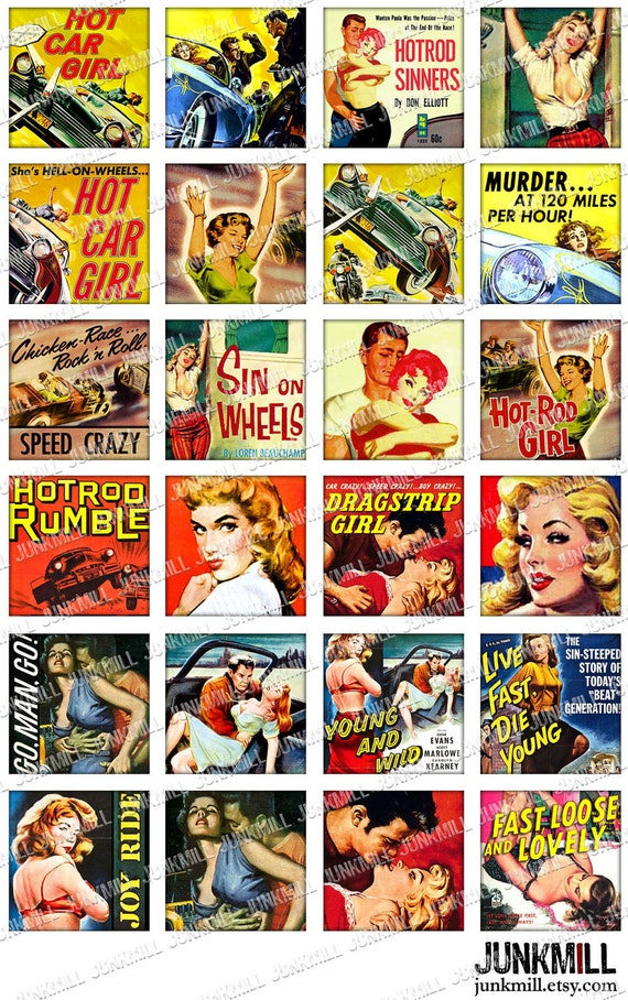 "HOT ROD VIXENS - Digital Printable Collage Sheet - Drag Race Pin-Ups & B-Movie Bad Girls, 1"" Square or Scrabble Tile, Instant Download"