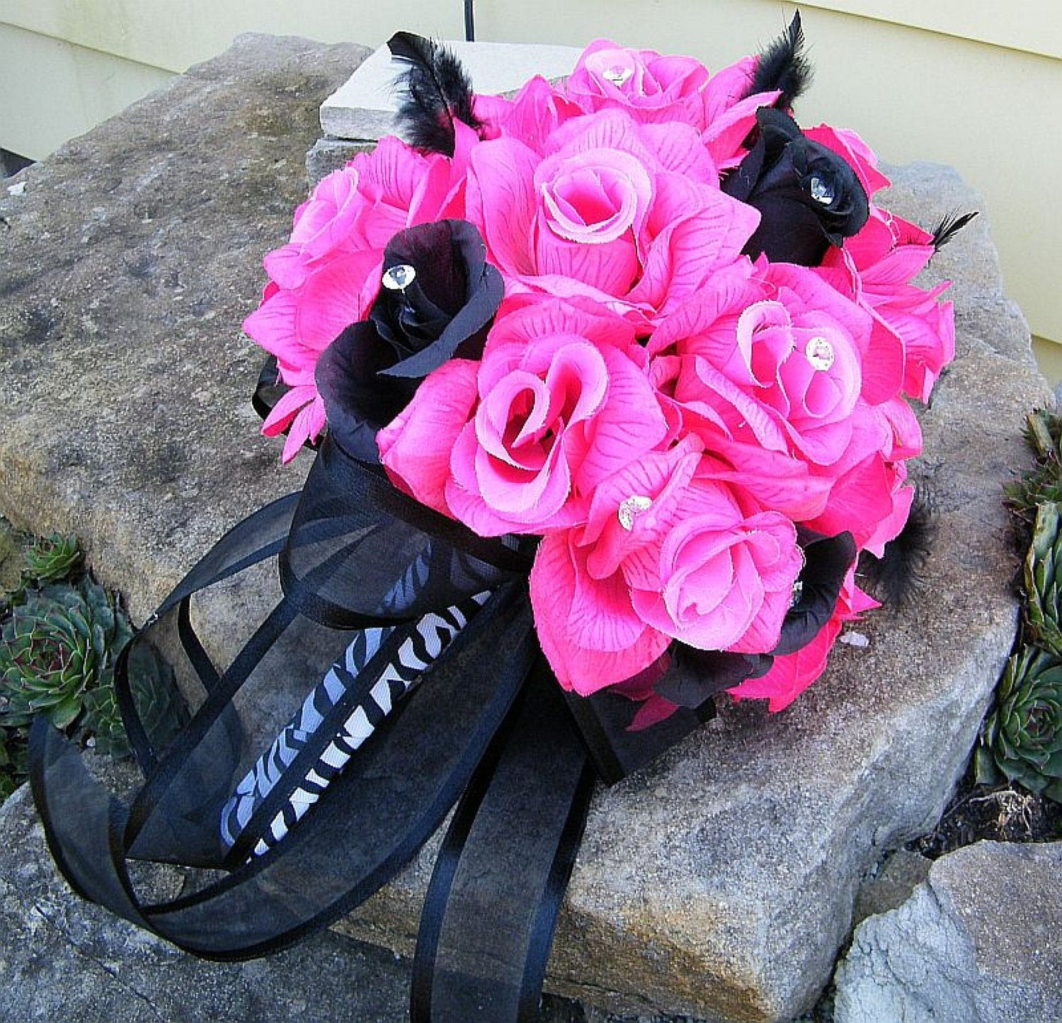 Dark Pink Wedding Flowers: Wedding Bouquet HOT PINK/Fuchsia BLACK Bride's Bouquet