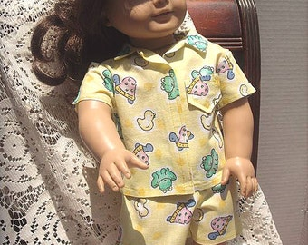 Yellow Summer Pajamas for 18 Inch Fashion Doll