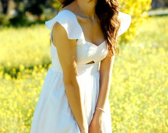 White Sweet Heart Neckline Midriff Cut Out Dress - Made to Order - XS, S, M or L - Choose Your Color