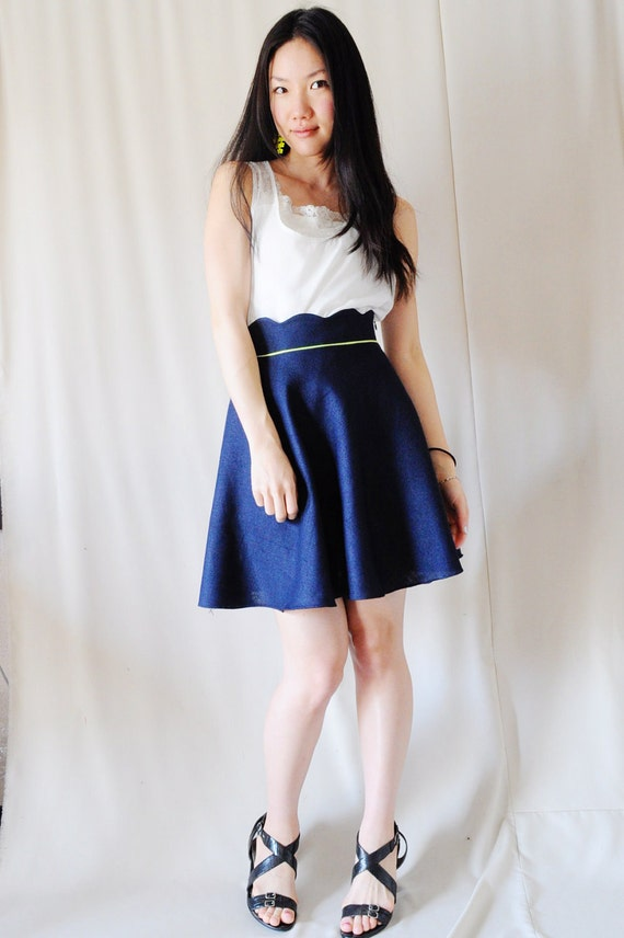 Navy Blue Scallop Waist Skirt with Neon Piping - High Waisted, Half Circle Skirt - S