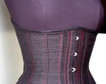 CUSTOM Underbust Corset pick your size Waist Training Burlesque Steampunk Steel Boned Silk