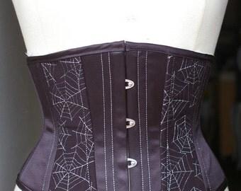 CUSTOM Rockabilly Silver Spiderwebs Black Waist Cincher Corset Tiki Hotrod Bettie