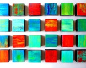 SALE TODAY - Painted wood wall sculpture art blocks - 24 original abstract mixed media art blocks - wooden wall sculpture by Rosemary Pierce