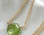 Peridot Necklace in Gold Fill, Simple Peridot Pendant, Green Gemstone, August Birthday, Peridot Jewelry, Solitaire Peridot Briolette