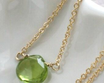 Peridot Necklace • Simple Peridot Pendant • Green Gemstone • August Birthday • Peridot Jewelry • Solitaire Peridot Briolette