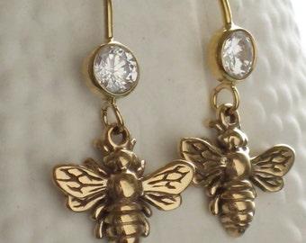 Bee Earrings Queen Bee Honey Bee Drop Earrings Bee Lover CZ Ear Wires Bee Dangle Earrings Bee Jewelry Bee Lover Bee Keeper Bee Hive