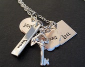 Hand Stamped Mommy Jewelry - Personalized Keepsake Necklace for Moms - Key to My Heart Sterling Charms