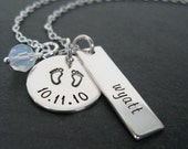 Personalized Jewelry - Hand Stamped Necklace with Baby Feet Design
