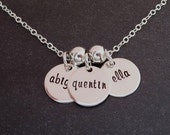 Hand Stamped Necklace - Personalized Jewelry - Sterling Mothers Tags