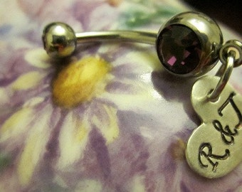 Initial Personalized belly button rings Hand stamped sterling silver hearts Wedding bellyring brides jewelry