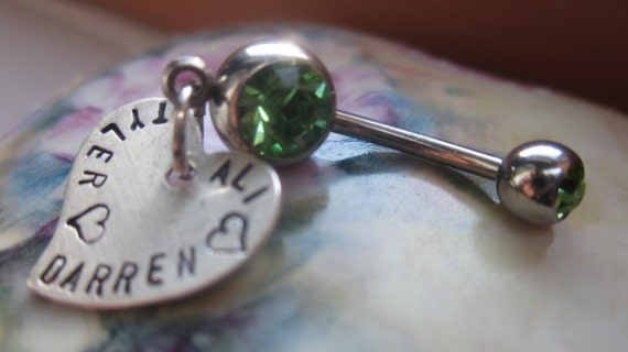 Personalized belly button rings THE KEEPSAKE Hand stamped sterling silver hearts for names, dates, words, phrases.