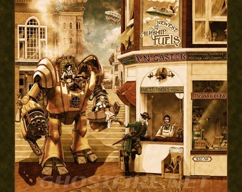Steampunk Mecha Art Print - Multiple Sizes Available - P.N. Caster - Airship Provisioner