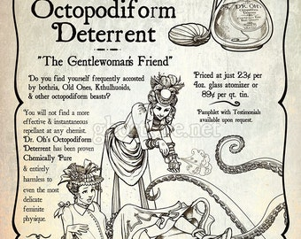 Steampunk Advertisement Art Print - Multiple Sizes Available - Dr. Oh's Octopodiform Deterrent
