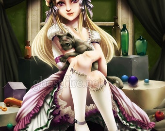 """Creepy """"Still Life Painting"""" Sweet Lolita Art Print - Multiple Sizes Available - """"Sweet Lolita and Hurty Kitty"""""""