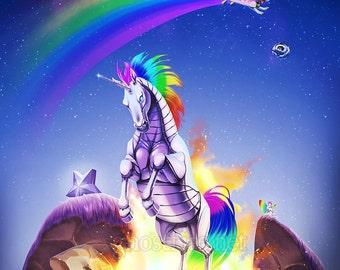 "Internet Meme-Filled Nyan Cat Robot Unicorn Print - Multiple Sizes - ""Double Rainbow"""