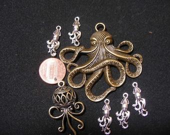 Octopus pendant charm mix - Game of Thrones  House Greyjoy  Pirates  octopus kraken, cephalopod  TeamESST,  OlympiaEtsy, EnglishGeeks,  WWWG