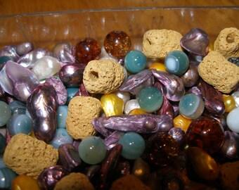 Beads semiprecious stone (17)  Lava, amber, pearls, heaven eye agates, Swarovski crystals- random assortment 3 - TeamESST, OlympiaEtsy, WWWG