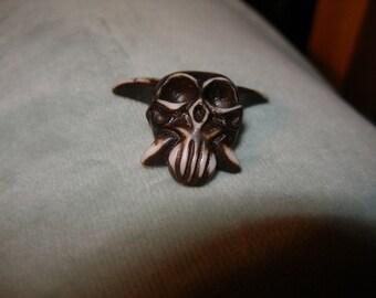 Vampire skull bead, pendant  - carved bone, unusual, really toothy - SpookyCuteTeam, Halloween24/7, paganteam, Team ESST, EnglishGeeks, WWWG