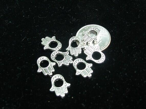 Hamsa hand bead frames, 12 silver     Judaicaonetsy, Team ESST, WWWG, OlympiaEtsy, GeekyFreakyUnique-y, SupportingArtists, REACT