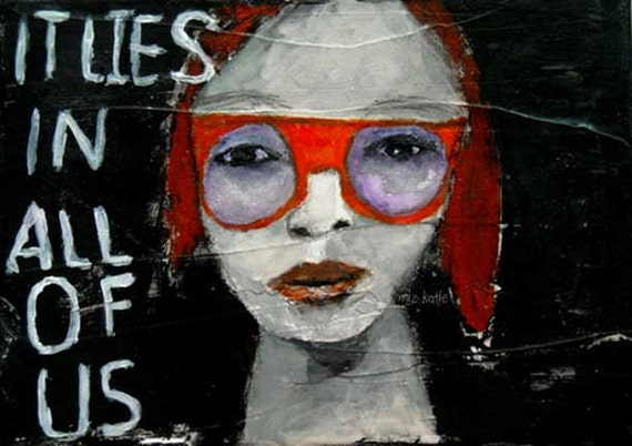 Mixed Media Acrylic Portrait Painting Original 7x5 canvas board Funky girl, red hair, orange glasses