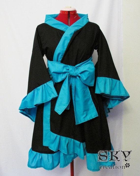 Items Similar To Custom Black X Teal Kimono Dress With Ruffles And Descending Hem On Etsy