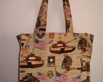 Army Tote Bag, US Army Special Forces, Military Tanks, Troops, Helicopters TIGHT 'N' TIDY Tote Bag Reusable Folding Shopping Bag, Eco Bag