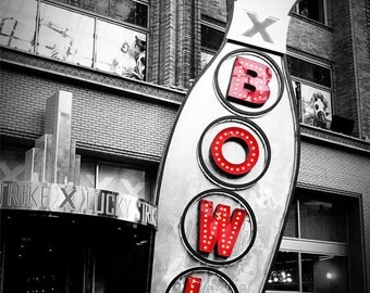 BOWL - Gift for Dad Bowling Print, Bowling Pin, Red and Black Letters, Photography, Masculine Guy Gift, Bowling Sign, Neon Sign Letters